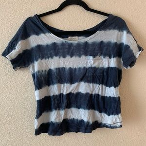 Aerie Tie-Dye Blue & White Top